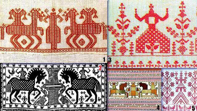 Лев в русской вышивке
